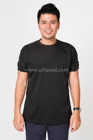 Awal Patches Plain Shirt in Black