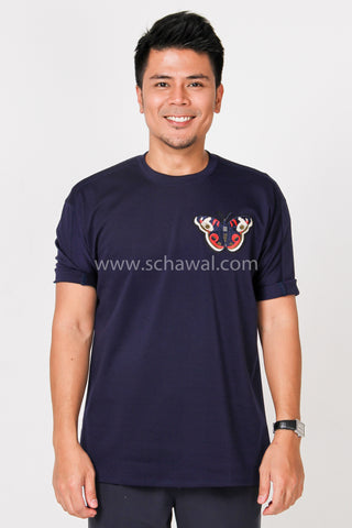 Awal Patches Plain Shirt in Navy Blue