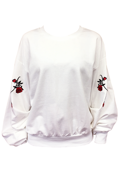 Floral Sweater in White