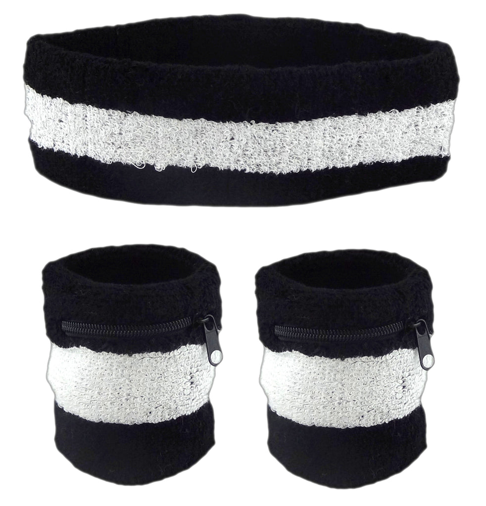 Black With White Stripe and Black Zipper Sweatband Set (3-Pack: 2 Wristbands with Zipper/Wrist Wallet & 1 Headband)