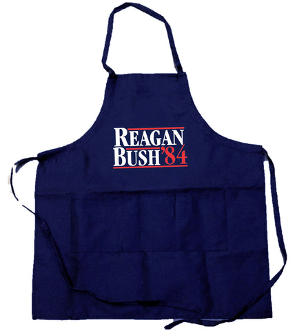Funny Guy Mugs Reagan Bush '84 Apron with Pockets - Funny Apron for Grandpa or Dad - Perfect for Kitchen BBQ Grilling Barbecue Cooking Baking Gardening