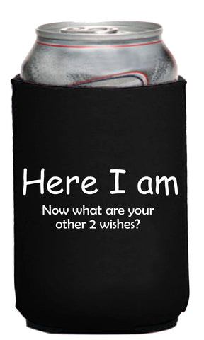 Here I Am Now What Are Your Other 2 Wishes? - Genie Lamp On Bottom Neoprene Can Coolie