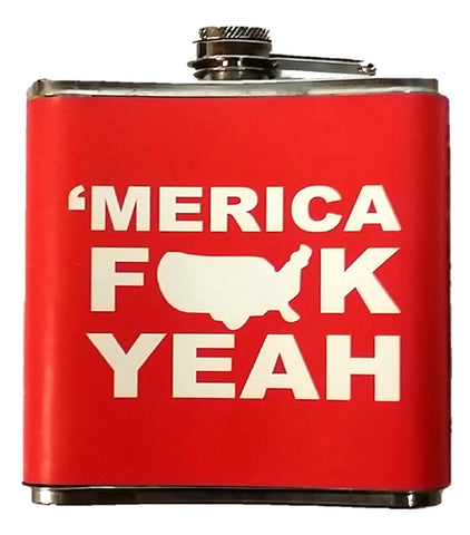 Merica F*ck Yeah Stainless Steel 7oz Hip Flask