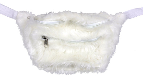 White Fuzzy Fanny Pack