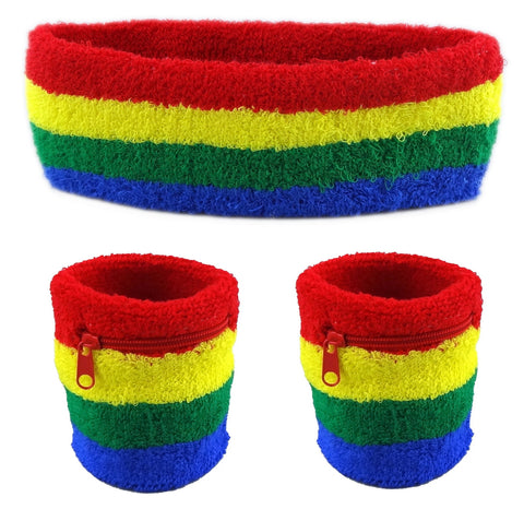 Rainbow Sweatband Set (3-Pack: 2 Wristbands with Zipper/Wrist Wallet & 1 Headband)