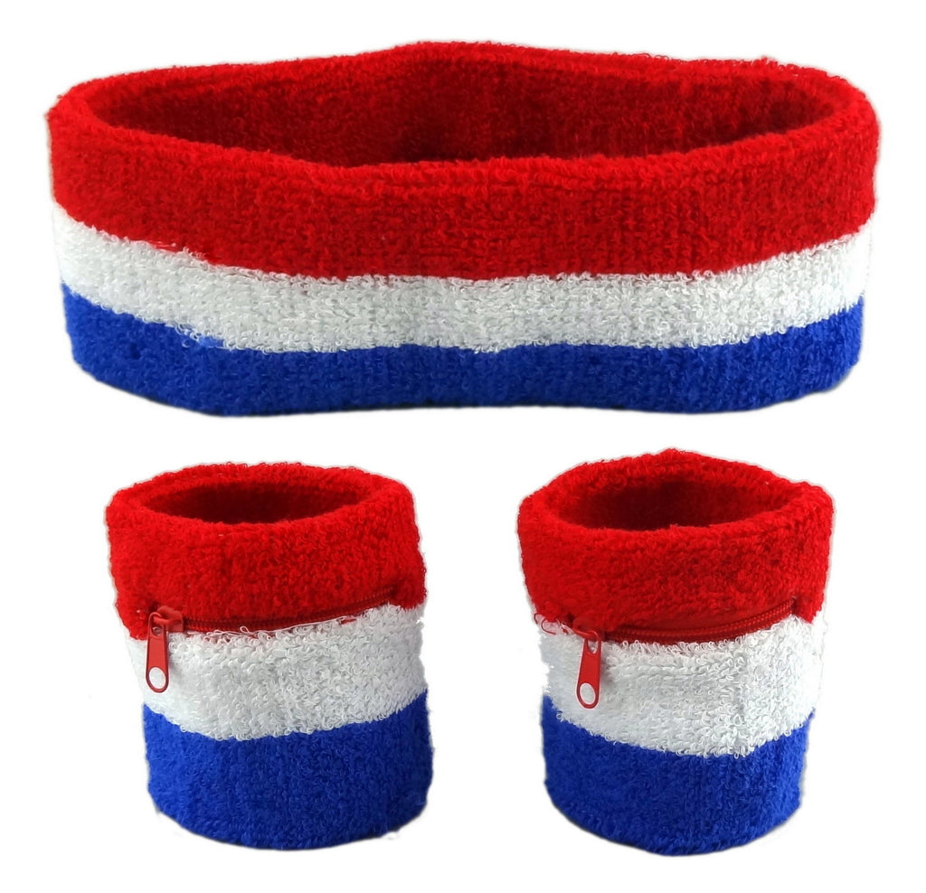 USA Sweatband Set (3-Pack: 2 Wristbands with Zipper/Wrist Wallet & 1 Headband)