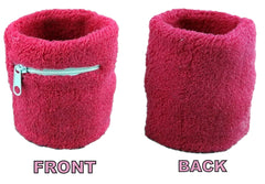 Pink With White Zipper Sweatband Set (3-Pack: 2 Wristbands with Zipper/Wrist Wallet & 1 Headband)