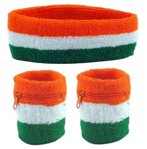 Flag of Ireland Sweatband Set (3-Pack: 2 Wristbands with Zipper/Wrist Wallet & 1 Headband)