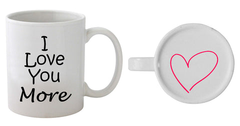 I Love You More - Heart On Bottom Mug