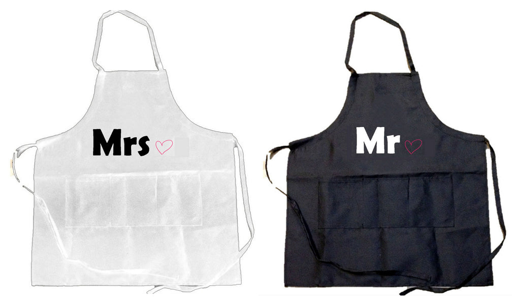 2 PACK - Mr. & Mrs. Embroidered Aprons