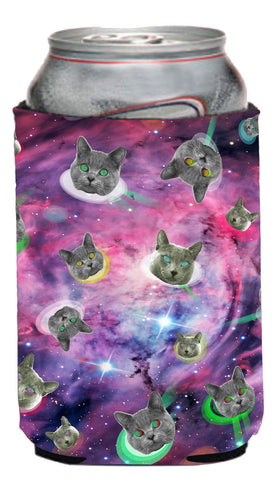 Space Cat Neoprene Can Coolie