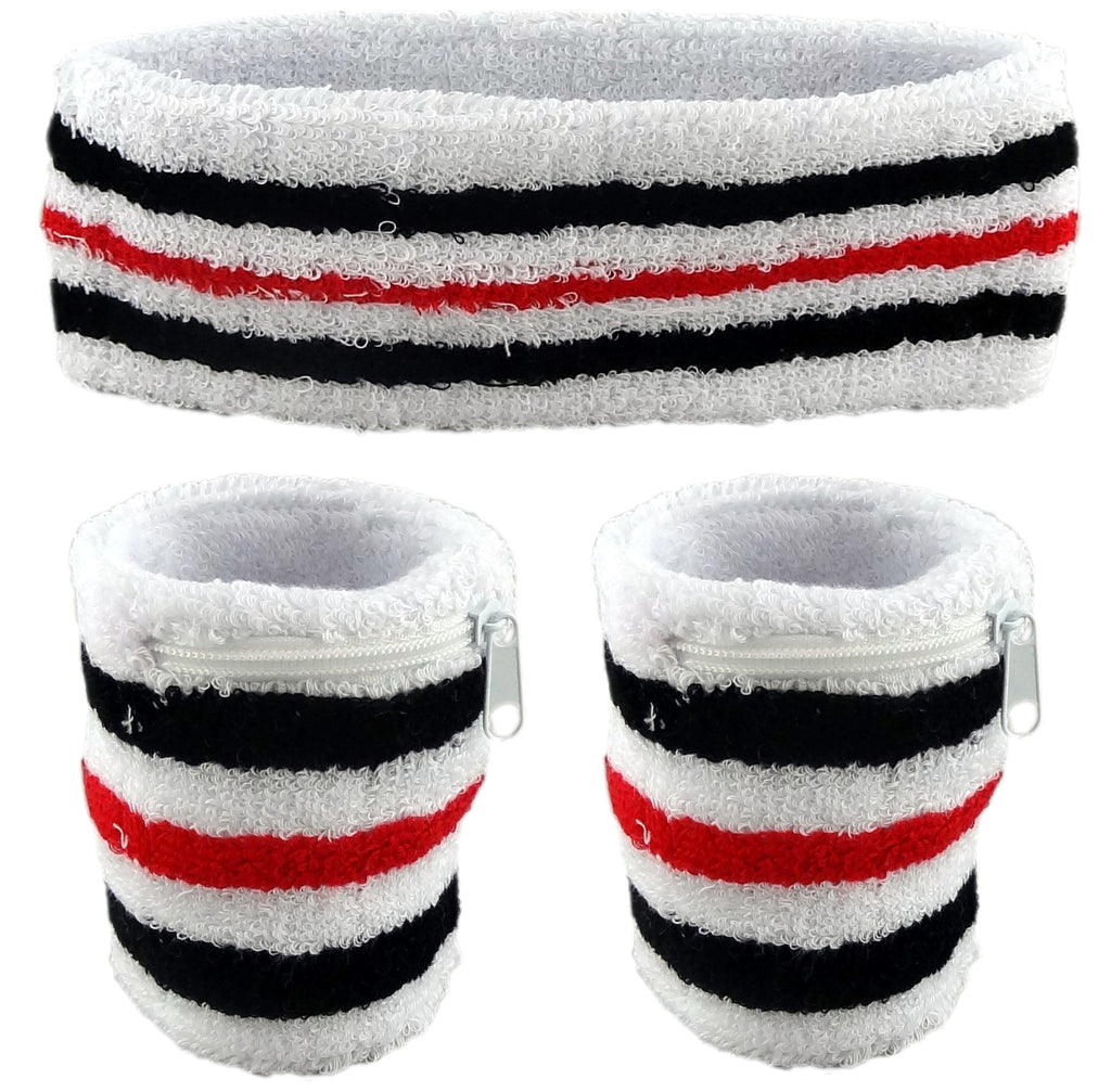 White with Red and Black Stripes and White Zipper Zipper Sweatband Set (3-Pack: 2 Wristbands with Zipper/Wrist Wallet & 1 Headband)