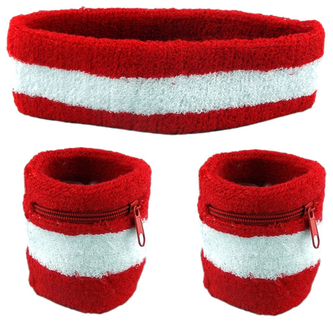 Red With White Stripe and Red Zipper Sweatband Set (3-Pack: 2 Wristbands with Zipper/Wrist Wallet & 1 Headband)