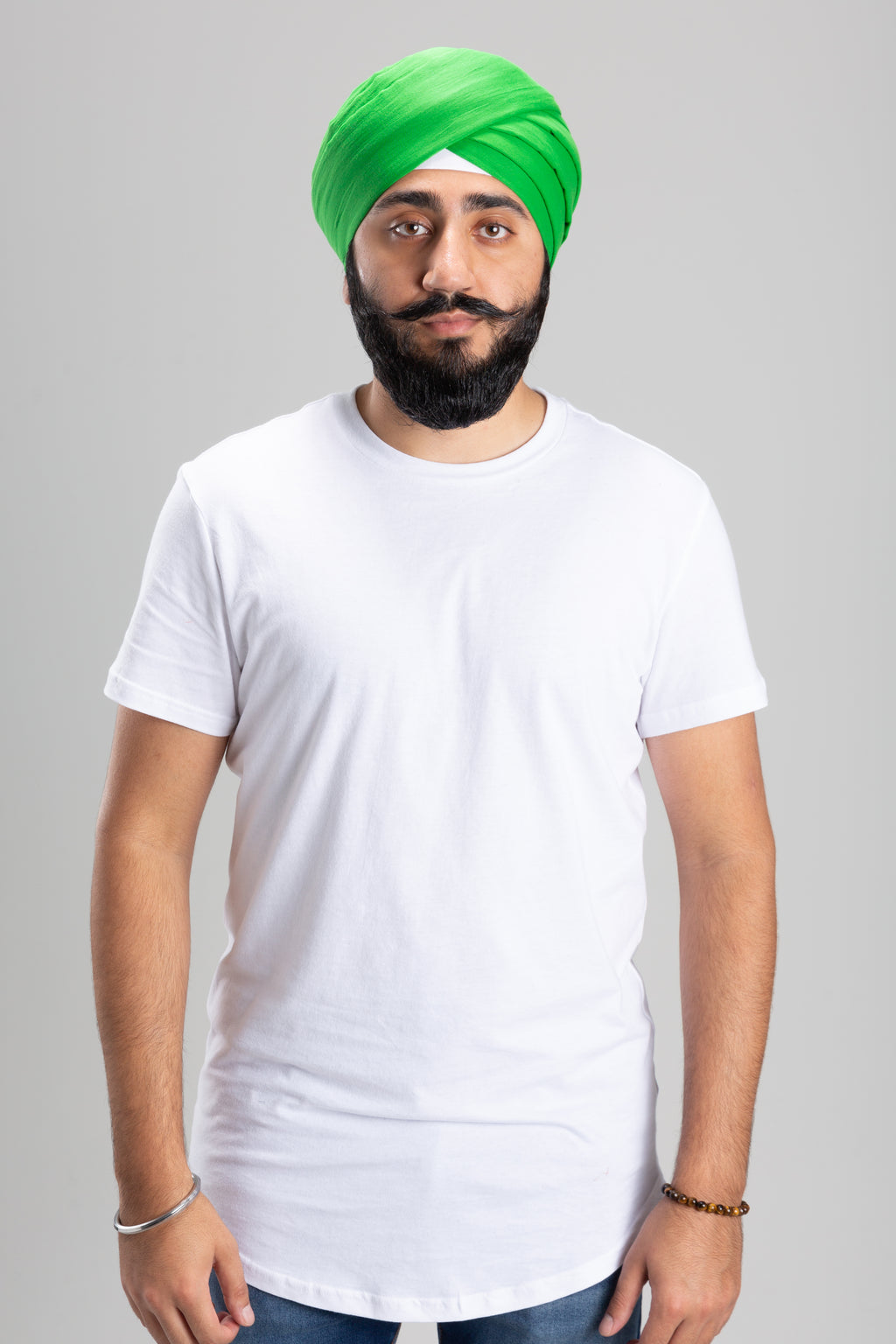 Sikh Man Wearing a Green Turban Keski