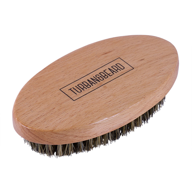 Premium Boar Bristle Beard Brush - Military Style