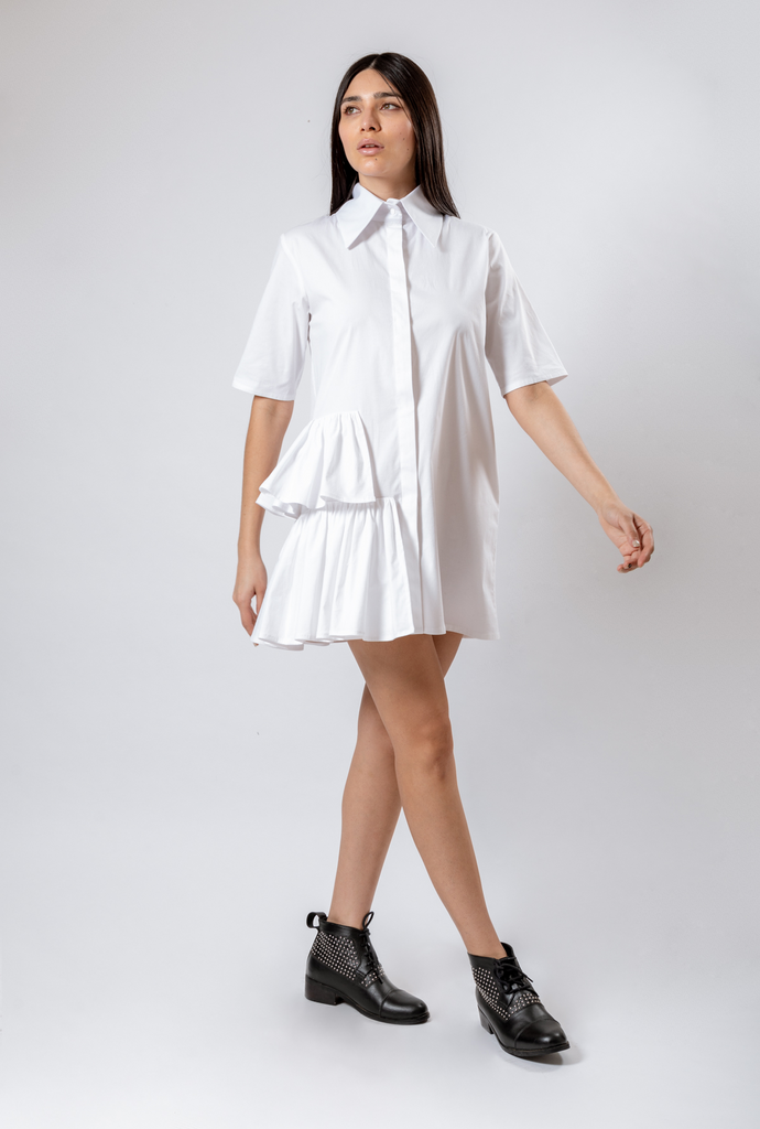 SHIRT DRESS PLEATED ON SIDE