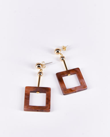 Earrings Chocolate Square-Project Bon-Acetate-Handmade-Local Designers-Nuovum-Barcelona
