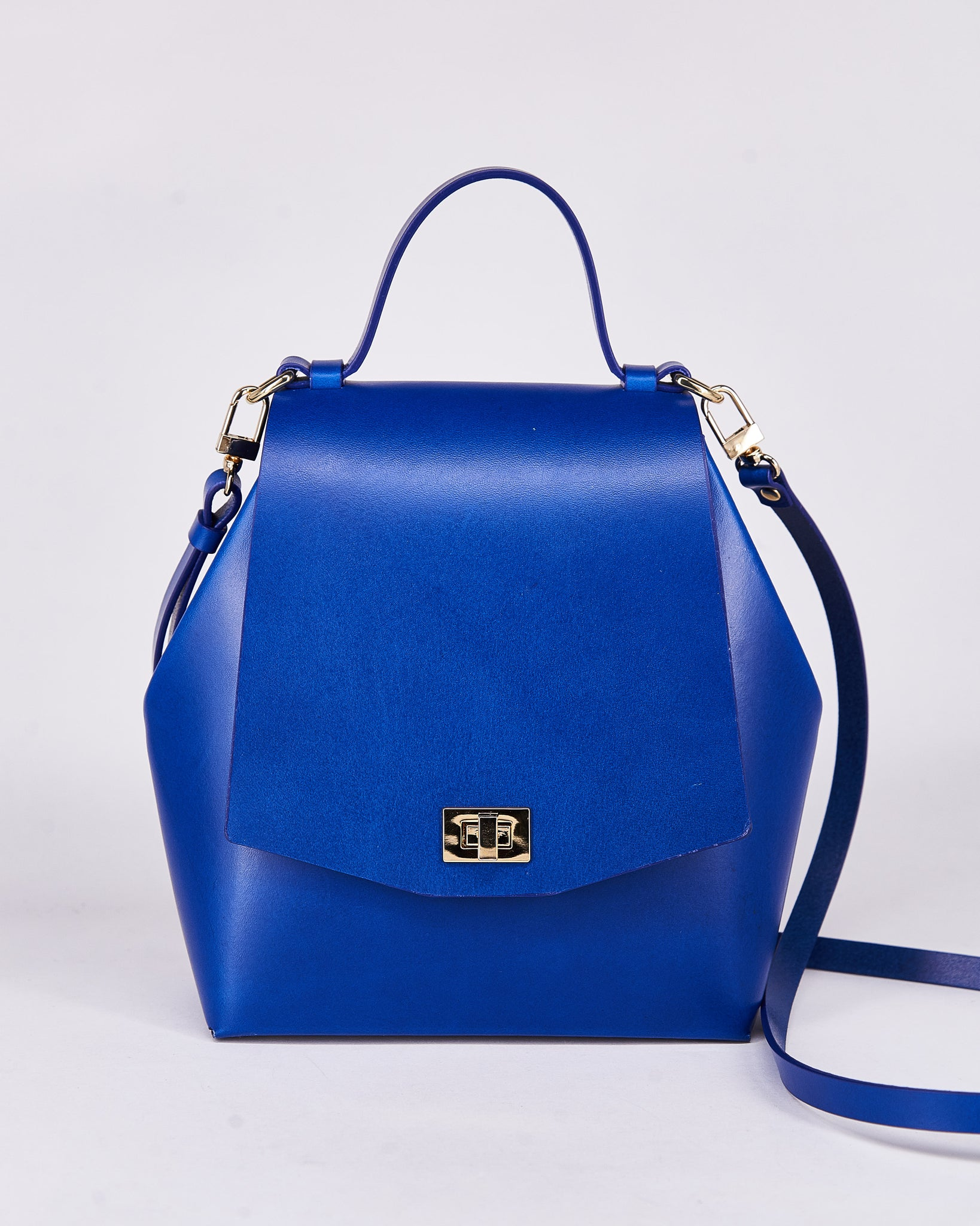 Hex Bag-Blue-Leather-Designed by Nuovum-Localdesigners-Barcelona-Front Strap