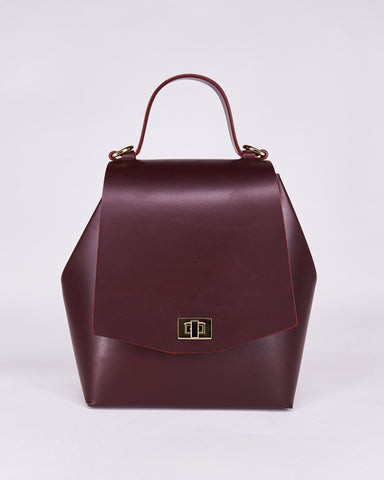 Hex Bag-Bordeaux-Leather-Designed by Nuovum-Localdesigners-Barcelona-Front