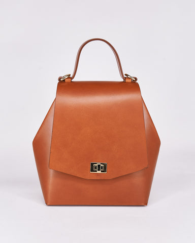 Hex Bag-Brown-Leather-Designed by Nuovum-Localdesigners-Barcelona-Front