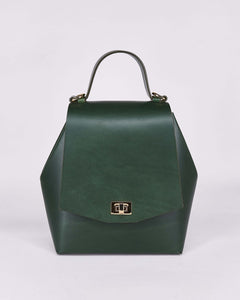 Hex Bag-Green-Leather-Designed by Nuovum-Localdesigners-Barcelona-Front