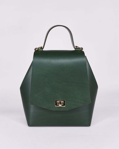 HexBag-Green-Leather-DesignedbyNuovum-Localdesigners-Barcelona-Front