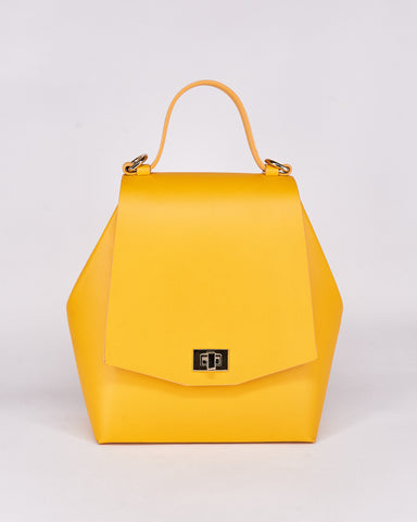 Hex Bag-Yellow-Leather-Designed by Nuovum-Localdesigners-Barcelona-Front