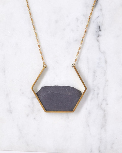 Necklace Open Hexagon Black Gold