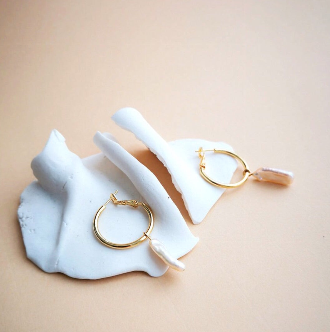 Earrings Long Pearl Hoops