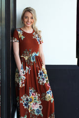 Floral Short Sleeve Maxi: Rust