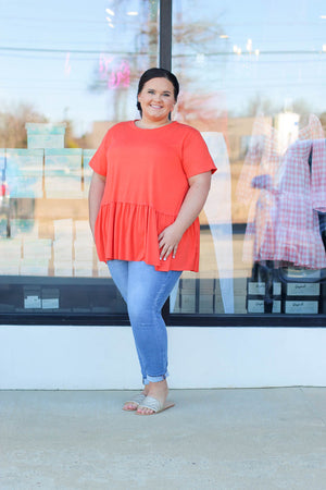 Dotted Ruffle Top: Powder Blue