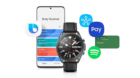 Smart watch. Smart life. Integrated Bixby voice functionality can read your texts, make a call or initiate coaching on command and on-the-go. Samsung Pay lets you leave home without a wallet. And a multilayered defense-grade security platform keeps all your data safe