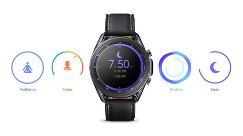 Galaxy Watch3's automatic sleep tracker offers insights on how to get a better night's sleep. It also monitors your stress level and helps you recenter with breathing guides.
