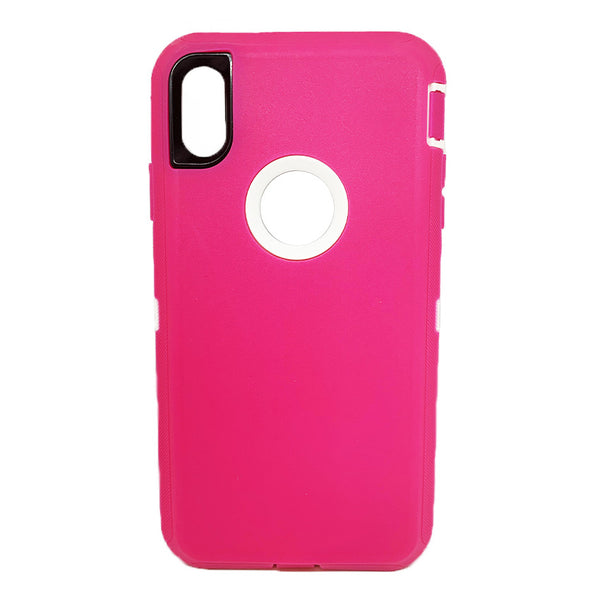 Generic Defender iPhone XS Max Case-Pink:White1