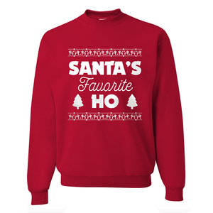 Santa's Favorite Ho Unisex Sweatshirt-Apparel-Beardaments-Small-Beardaments Beard Ornaments Glitter
