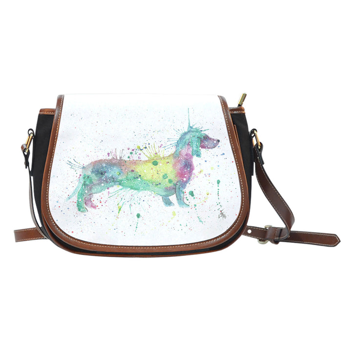 Bright sausage dog leather saddle bag
