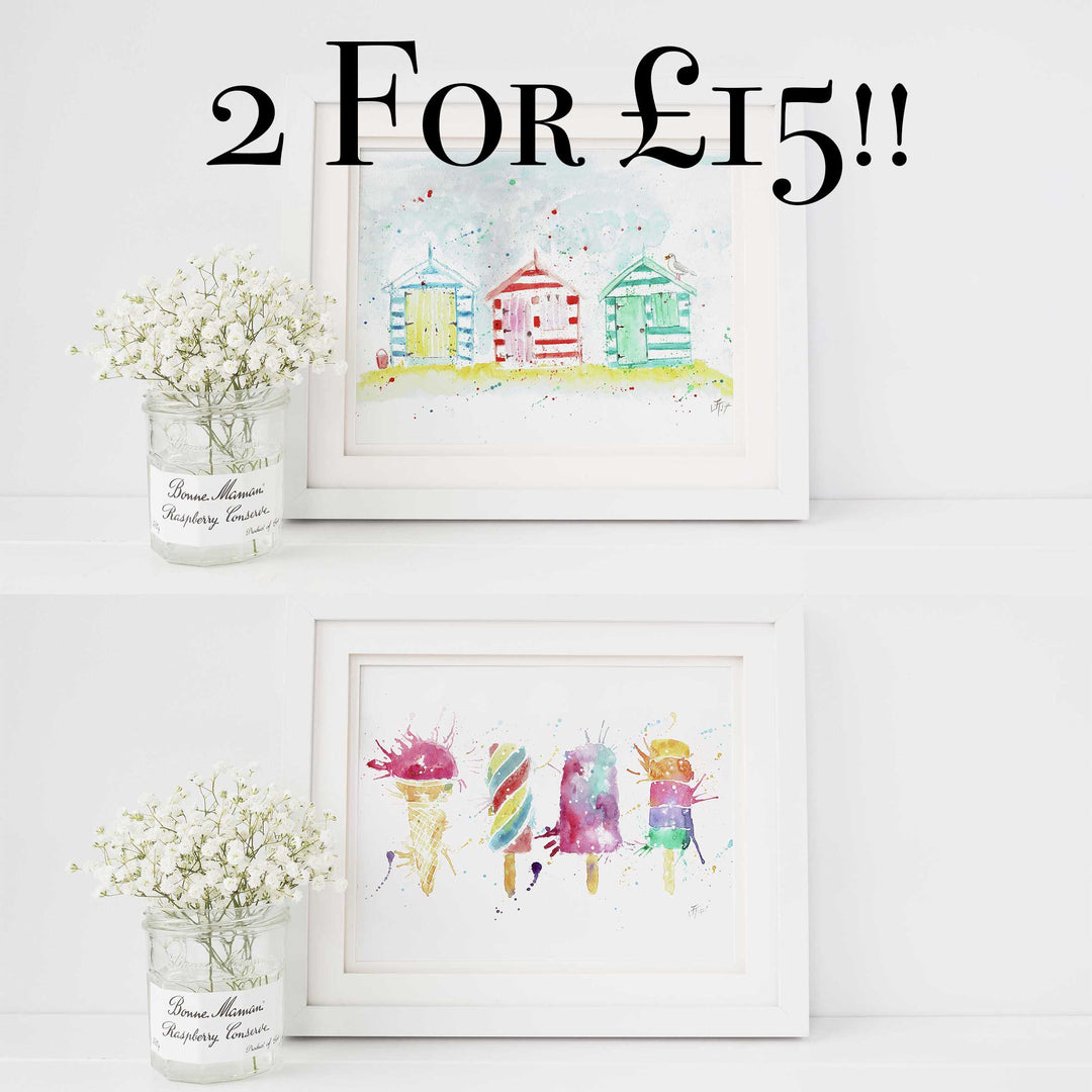 Offer! A3 or A4 Beach huts and icelollys Art Poster Prints