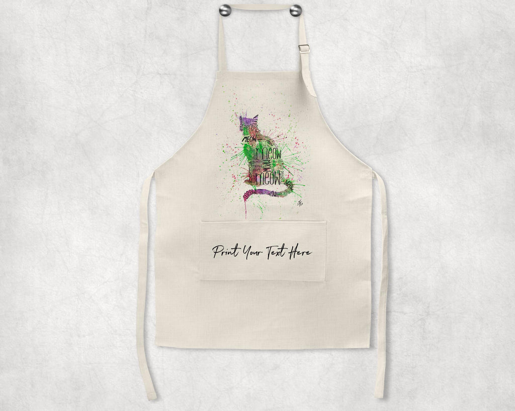 """Meow"" Green Personalised Apron"