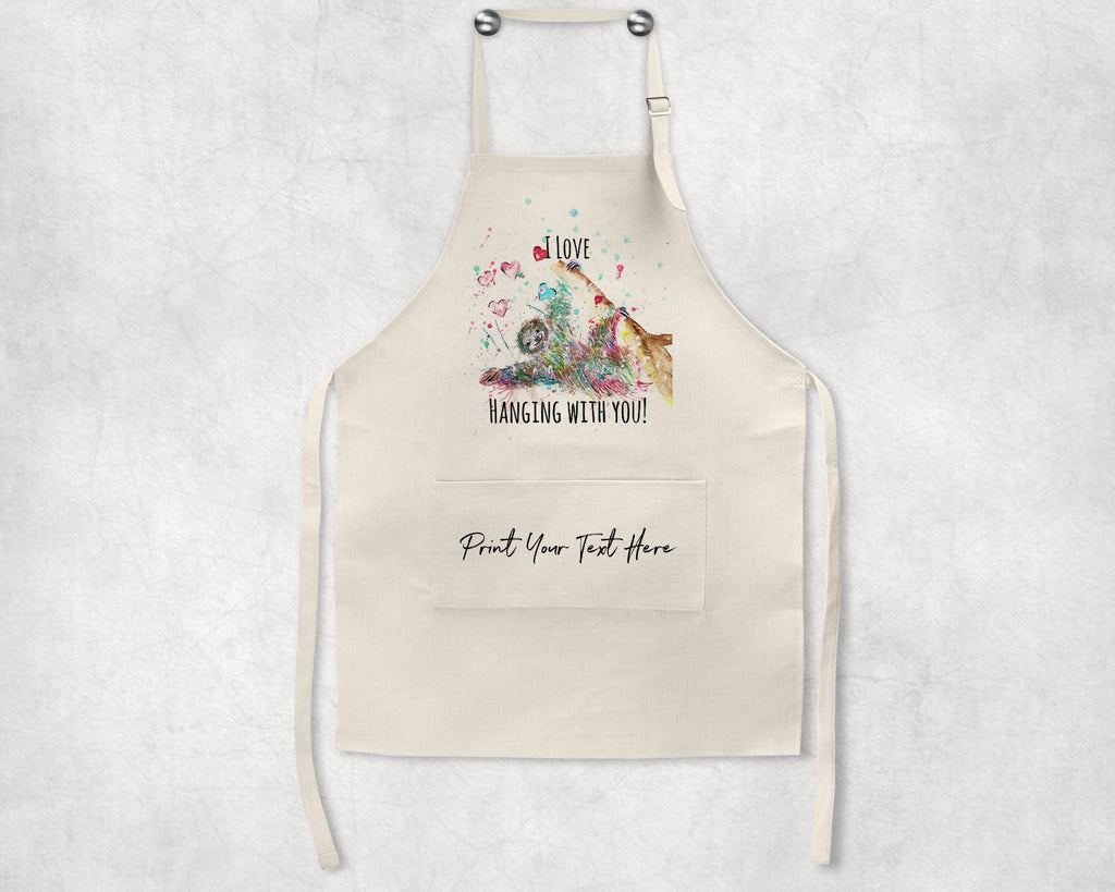 """I Love Hanging With You"" Sloth Personalised Apron"