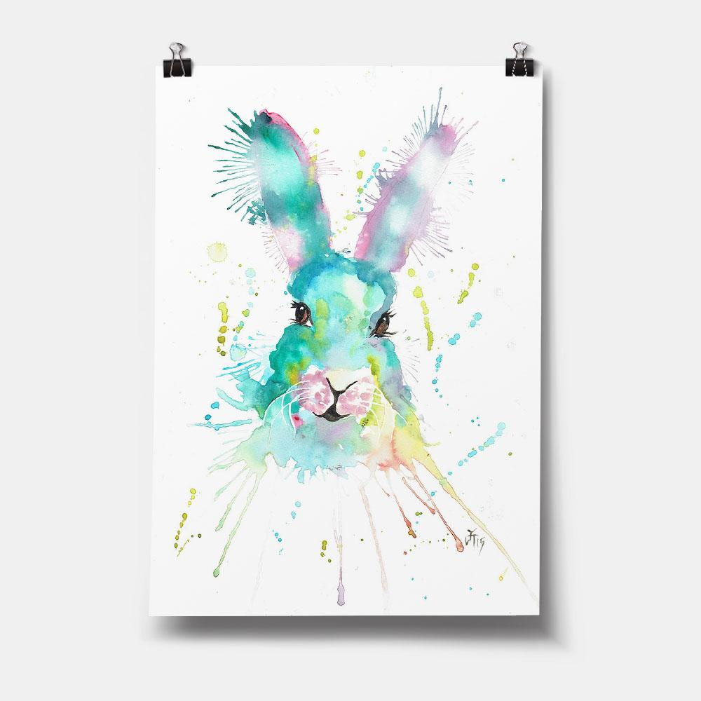 Pink & Green Hare Art Print