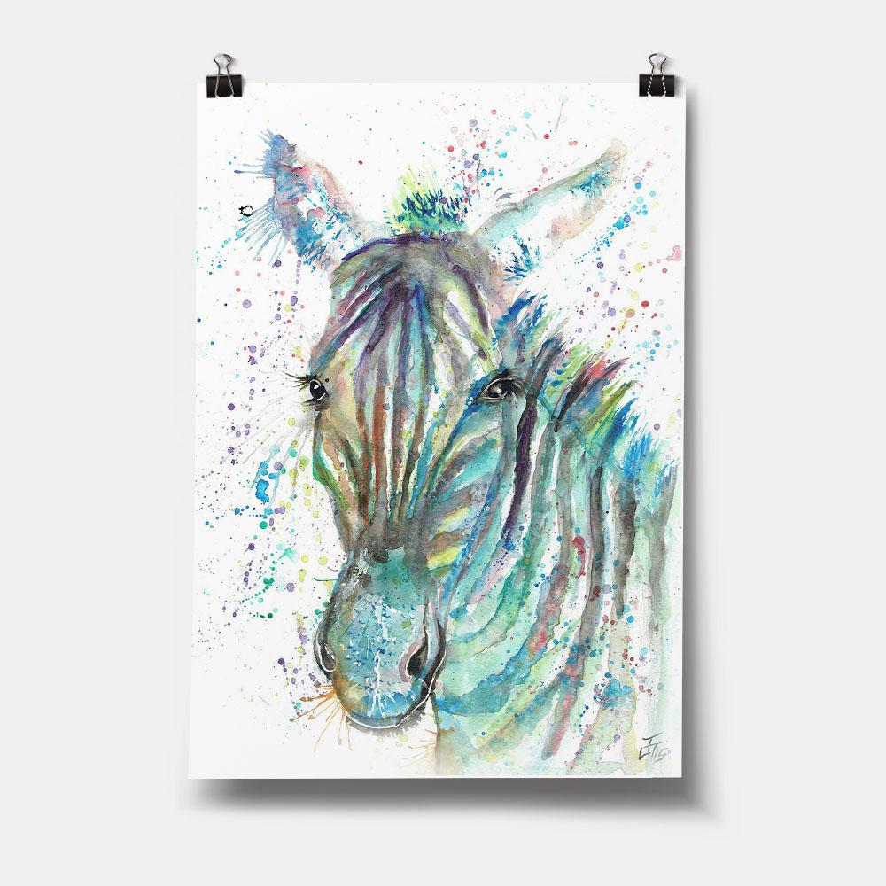 """Stripes"" Zebra Art Print"