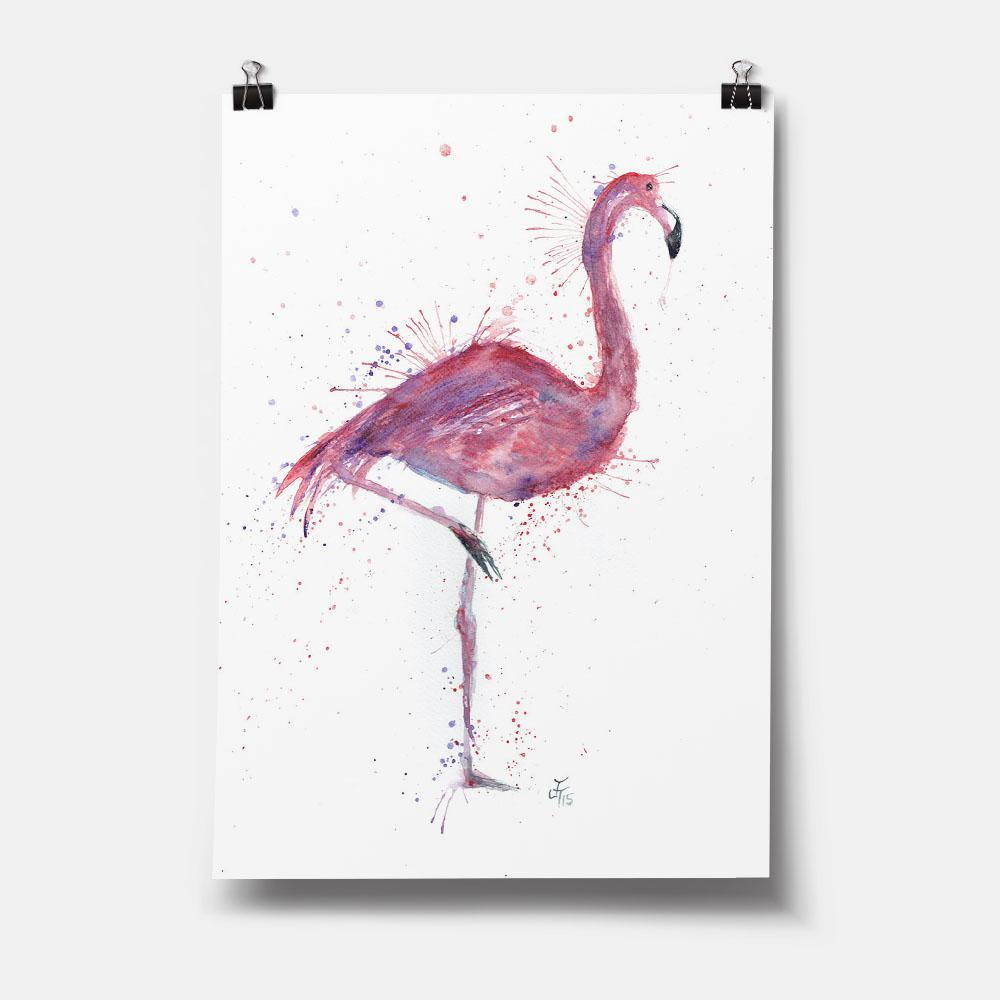 """Flo"" Flamingo Art Print"
