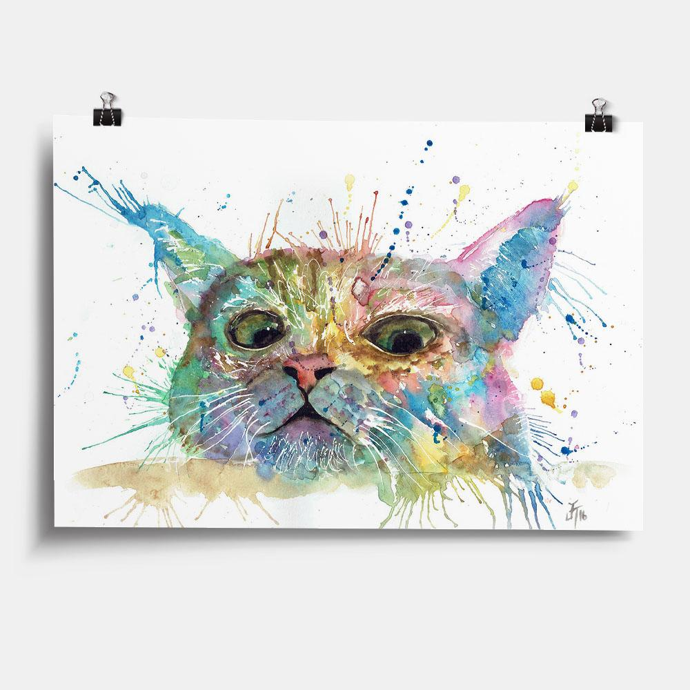 """Peep"" Cat Art Print"