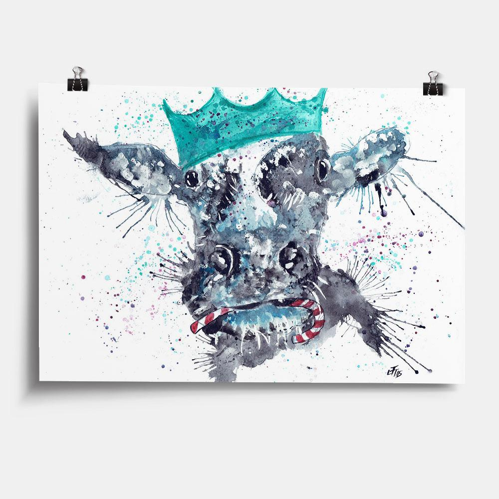 Christmas Moo Art Print