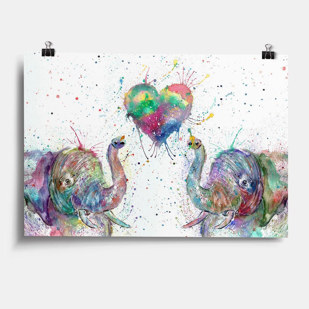Romantic Elephants Art Print