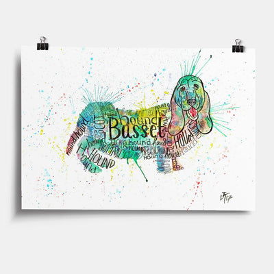 Basset Splash Art Print