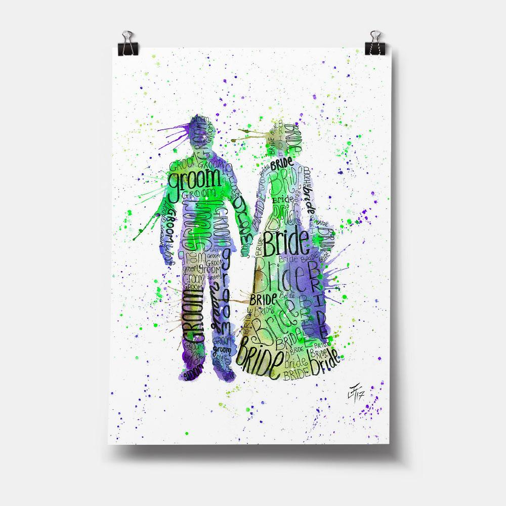 Bride & Groom (Green) Art Print