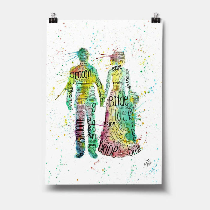 Bride & Groom Art Print