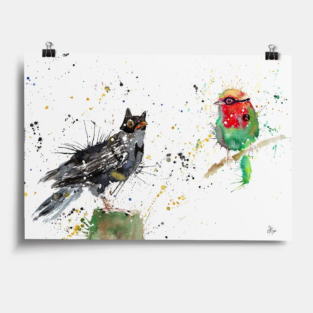 Blackbird & Robin Art Print