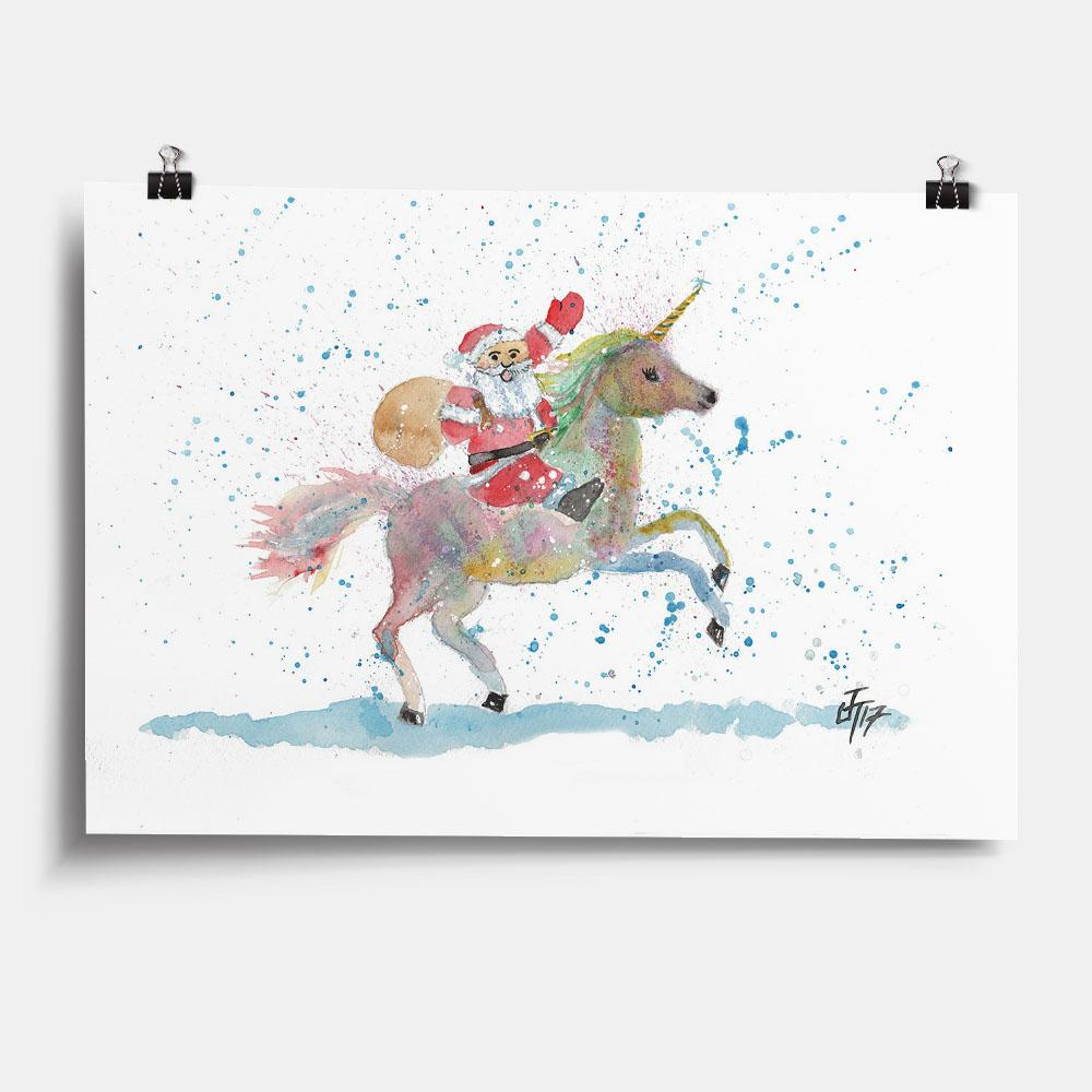 Santa Unicorn Art Print